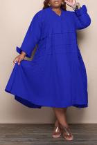 Blue Casual Solid Flounce V Neck Cake Skirt Plus Size Dresses