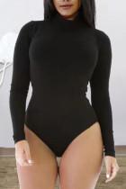 Black Sexy Solid Split Joint Zipper Half A Turtleneck Skinny Jumpsuits