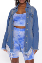 Blue Casual Solid Ripped Long Sleeve Regular Denim Jacket