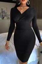 Black Casual Solid Split Joint V Neck Pencil Skirt Dresses