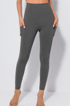 Grey Casual Sportswear Solid Split Joint Skinny High Waist Pencil Solid Color Bottoms