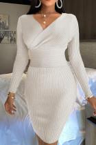 White Casual Solid Split Joint V Neck Pencil Skirt Dresses