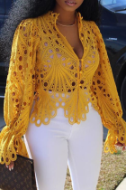 Yellow Sexy Solid Hollowed Out V Neck Tops