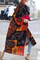 Yellow Black Street Camouflage Print Split Joint Turndown Collar Outerwear