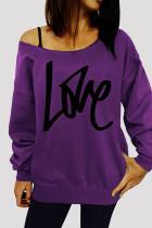 Purple Fashion Casual Letter Print Basic Oblique Collar Tops
