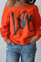 Orange Fashion Casual Letter Print Basic Oblique Collar Tops