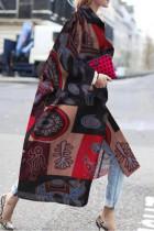 Black Red Street Camouflage Print Split Joint Turndown Collar Outerwear