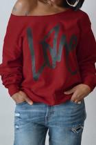 Purplish Red Fashion Casual Letter Print Basic Oblique Collar Tops