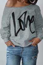 Grey Fashion Casual Letter Print Basic Oblique Collar Tops