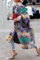 Grey Street Camouflage Print Split Joint Turndown Collar Outerwear