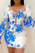 White Sexy Print Split Joint Square Collar Pencil Skirt Dresses
