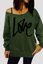 Army Green Fashion Casual Letter Print Basic Oblique Collar Tops