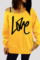 Yellow Fashion Casual Letter Print Basic Oblique Collar Tops