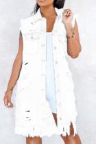 White Casual Solid Ripped Turndown Collar Sleeveless Regular Denim Jacket