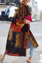 Red Orange Street Camouflage Print Split Joint Turndown Collar Outerwear