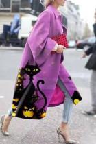 Purple Street Camouflage Print Split Joint Turndown Collar Outerwear