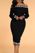 Black Elegant Print Split Joint Off the Shoulder One Step Skirt Dresses