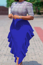 Blue Casual Solid Flounce Dresses