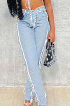 Baby Blue Fashion Street Solid Split Joint Denim Jeans