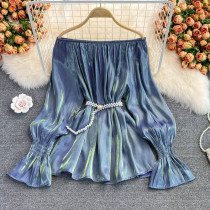 Blue Casual Solid Split Joint Off the Shoulder Tops