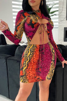 Multicolor Sexy Print Hollowed Out Split Joint Frenulum O Neck One Step Skirt Dresses