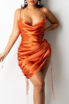 Orange Fashion Sexy Solid Draw String Spaghetti Strap A Line Dresses