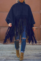 Dark Blue Fashion Vintage Solid Tassel Turtleneck Plus Size Overcoat