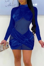 Blue Sexy Solid Split Joint See-through Mandarin Collar One Step Skirt Dresses