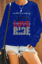Navy Blue Fashion Casual Letter Print Basic O Neck Tops