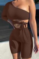 Coffee Fashion Sportswear Solid Frenulum One Shoulder Long Sleeve Two Pieces