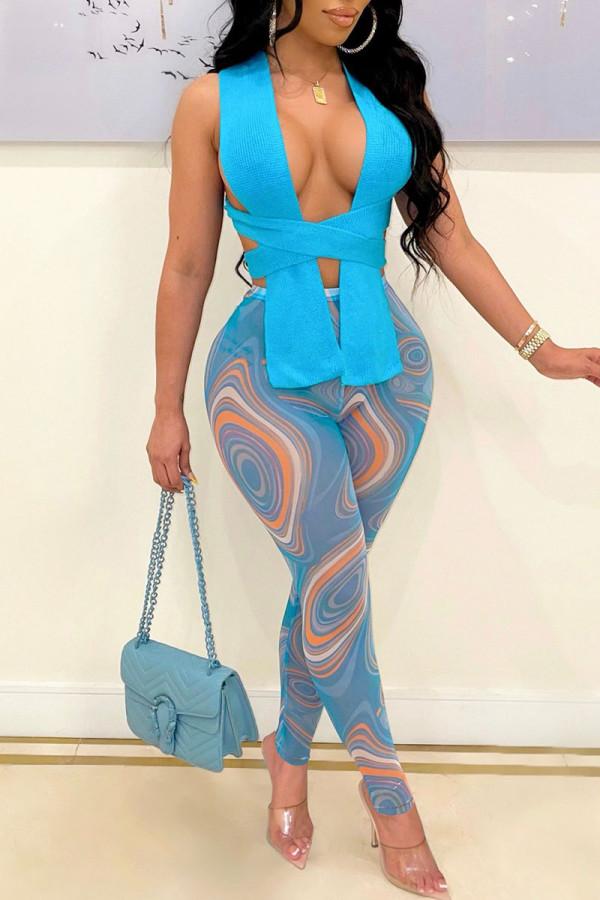 Blue Fashion Sexy Print Split Joint V Neck Sleeveless Two Pieces