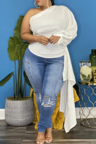White Sexy Solid Split Joint Asymmetrical Oblique Collar Plus Size Tops