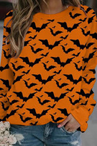 Black Orange Fashion Casual Print Split Joint O Neck Tops