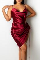 Red Fashion Sexy Solid Draw String Spaghetti Strap A Line Dresses