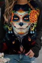 Black Fashion Casual Print Basic O Neck Tops