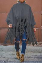Dark Gray Fashion Vintage Solid Tassel Turtleneck Plus Size Overcoat