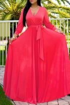 Red Fashion Casual Solid Bandage V Neck Long Sleeve Dresses