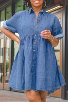 Blue Casual Solid Split Joint Turndown Collar Cake Skirt Dresses