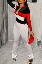 White Fashion Casual Patchwork Basic Zipper Collar Regular Jumpsuits