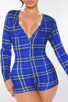 Colorful Blue Fashion Casual Plaid Split Joint V Neck Jumpsuits