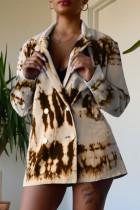 Khaki Fashion Casual Print Cardigan Turndown Collar Outerwear