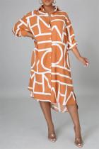 Orange Fashion Casual Print Basic Turndown Collar Long Sleeve Shirt Dress