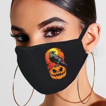 Black Orange Fashion Casual Print Mask