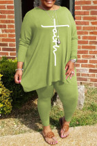 Green Fashion Casual Print Basic O Neck Plus Size Two Pieces