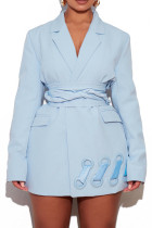 Sky Blue Casual Elegant Solid Split Joint Buttons Turn-back Collar Outerwear