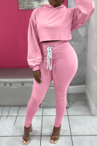 Pink Casual Solid Draw String Hooded Collar Long Sleeve Two Pieces