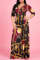 Burgundy Fashion Casual Print Bandage V Neck Long Sleeve Dresses