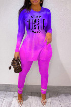 Purple Fashion Casual Print Slit O Neck Long Sleeve Two Pieces
