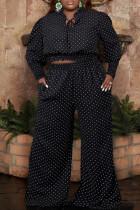 Black Fashion Casual Dot Print Bandage O Neck Plus Size Two Pieces