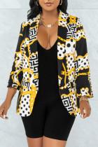 Yellow Fashion Casual Print Cardigan Turndown Collar Outerwear